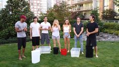 Cast of The 100: Ricky Whittle, Devon Bostick, Sachin Sahel, Eliza Taylor, Lindsey Morgan, Richard Harmon, Henry Ian Cusick - ALS Ice Bucket challenge