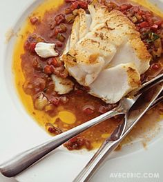 Cod Basquaise.  omit the ham and this is Mediterranean diet friendly