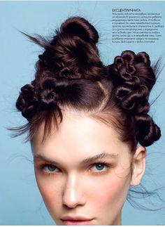 Hair Styles 2018 Nadya Kurgan / Elle on Behance Discovred by : Byrdie Beauty Creative Hairstyles, Up Hairstyles, Curly Hair Styles, Natural Hair Styles, Runway Hair, Editorial Hair, Beauty Editorial, Hair Arrange, Fantasy Hair