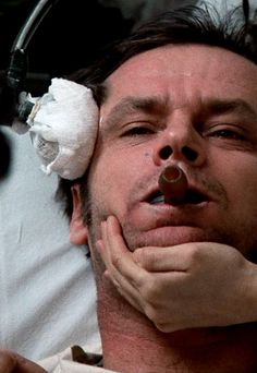 "Jack Nicholson as Randle Patrick ""Mac"" McMurphy in One Flew Over the Cuckoo's Nest (1975)"