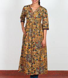 Mustard Yellow Kalamkari Printed Cotton Long Kurti