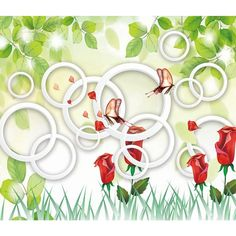 3D Wallpaper Red Charming Flowers And Butterfly Wallpaper Mural Wall Mural Wall Murals Removable Wallpaper