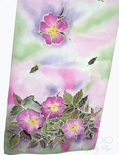 Hand Painted Silk Scarf Wild Rose Floral Spring by PolganiStudio