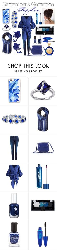 """""""sapphire gem"""" by dj-alykat ❤ liked on Polyvore featuring Casetify, Miadora, Bling Jewelry, Echo Design, Lee, Charles Jourdan Collection, Chicwish, Lipstick Queen, Essie and Maybelline"""