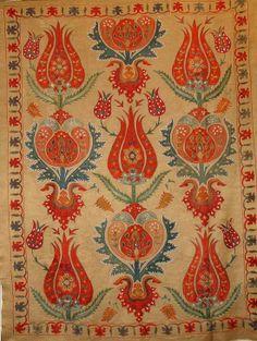 Ottoman Handmade Silk on Silk Chain Stitched Tulip Suzani Textile Patterns, Textile Art, Print Patterns, Turkish Design, Turkish Art, Pattern Art, Pattern Design, Motif Oriental, Art Chinois