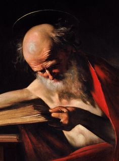 """(Caravaggio) - St Jerome: coined the word """"synderesis"""" - the God-given ability to discern good from evil."""