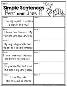 Worksheets Conversion Sentence For Kindergarten 1000 images about fun in first on pinterest grade states read the simple sentences and draw a picture to match