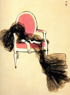Another vintage Rene Gruau illustration for Dior. So much said in a minimal, elegant, beautiful way Marie Claire, Fashion Illustration Vintage, Illustration Mode, Fashion Illustrations, Lingerie Illustration, Dior Vintage, Vintage Fashion, Rene Gruau, Jacques Fath