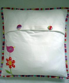 Back View of Bird and Flowers Cushion