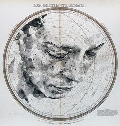 Mapped Face // Ed Fairburn on Graphic Mixed Media. Ed Fairburn has recently produced new works that live in a magical place between sculpture and drawings. Ed Fairburn, Celestial Map, Art Carte, Star Chart, Vintage Maps, Portraits, Art Plastique, Map Art, Graphic Art