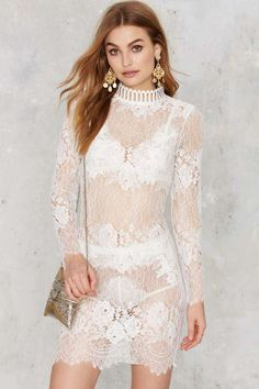 Laced on a True Story Sheer Dress - White - Valentine's Day