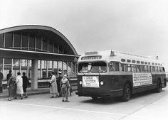 1956 - Sunday Excursion Tour Bus - St Louis Lambert Airport Air Field - Public Transportation - St Louis Vintage Photographs (photo pic Saint Louis MO Missouri history historic)