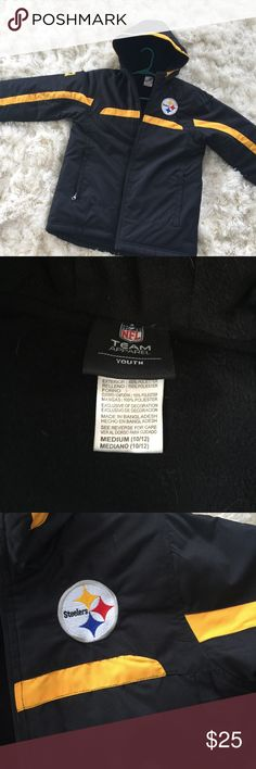 Steelers Boys winter Jacket size 10-12 NWOT NWOT Boys Steelers winter Jackets size 10-12 . My boys outgrew them before they ever wore them. Nice soft black fleece lining. Definitely will keep you warm in the winter. NFL Jackets & Coats
