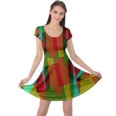Rainbow colors palette mix, abstract triangles, asymmetric pattern Cap Sleeve Dress #dress #womens #fashion #girls #style #cowcow Triangles, Rainbow Colors, Fit And Flare, Creative Design, Cap Sleeves, Palette, Abstract, Womens Fashion, Girls
