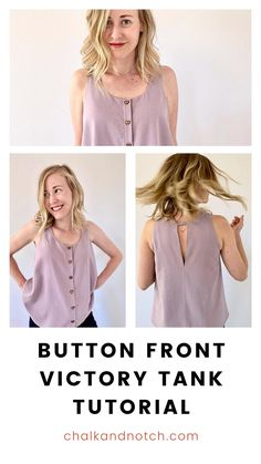 Sewing the Victory Tank online PDF pattern? Customize it and add your own details with this button front tutorial. Keep it simple with matching buttons or add some flair with contrasting, bold buttons. You choose! Instructions on the blog now!