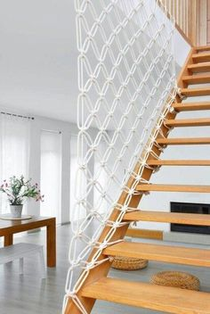 Perfect Diy Stair Handrail Ideas - Little Piece Of Me Like the staircase itself, its fence has a very important visual role in the space. Sometimes the stair railing is more impressive than the stairs itself. Rope Railing, Stair Handrail, Staircase Railings, Staircase Design, Stairways, Handrail Ideas, Banisters, Basement Stairs, House Stairs