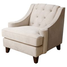 Addison Tufted Velvet Armchair, Beige, Club Chairs from One Kings Lane. Shop more products from One Kings Lane on Wanelo. Tufted Chair, Velvet Armchair, Upholstered Chairs, Swivel Chair, My Living Room, Living Room Chairs, Dining Room, Kitchen Dining, Dining Chairs