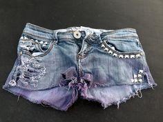 MadeToOrder DipDyed Destroyed and Studded Denim Shorts by Kirea
