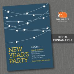 """New Year's Eve Party Invitation """"Starry Night"""" -- Customizable, Printable Digital File (5x7) -- Printing Available"""