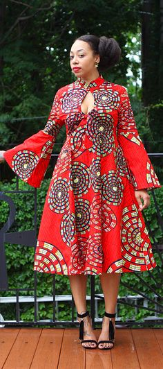 Mariposa Roja MIDI Dress. ~African fashion, Ankara, kitenge, African women dresses, African prints, African men's fashion, Nigerian style, Ghanaian fashion ~DKK