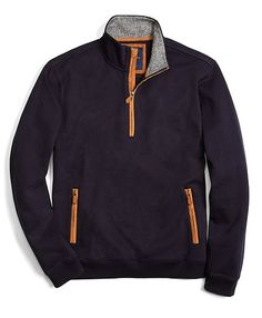 Half-Zip with Flannel Inside Collar - Brooks Brothers