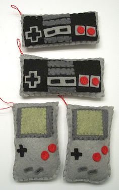Felt NES controllers & old school gameboy ornaments