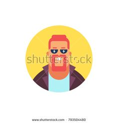 Guy icon. Modern flat style vector illustration.