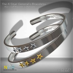 Mens Free Gift The Four Star Generals. Second Life Freebies for Men. The 4 star generals cuff bracelets, platinum version. It is available in the center