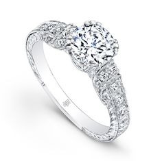 www.diamondconnectiononline.com Call today to order 6192968900 #EngagementRing by: #BeverlyK Style: R168(A)-D,D,CZ VINTAGE