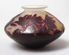 FRENCH GLASS, Gallé (Galle), Cyclamen vase