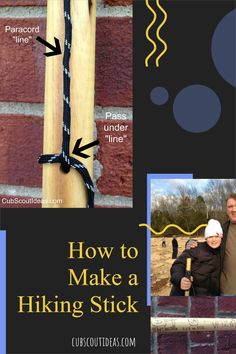 Learn how to make a hiking stick! Your Cub Scouts will love this DIY project that uses wood dowel rods and paracord. Get tips for this great kids' craft. They'll treasure this useful remembrance of their Cub Scout days as they use their handmade hiking stick for years to come. #CubScouts #CubScout #Scouting #Webelos #ArrowOfLight #HikingStick #HikingSticks #KidsCraft #KidsActivity #Hiking Cub Scout Activities, Fun Activities For Kids, Fun Games, Fun Crafts, Crafts For Kids, Arrow Of Lights, Cub Scouts, Scouting, Paracord