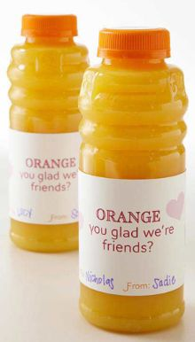 With so many sweets being handed out on Valentine's Day, why not do something a little different this year and give out an Orange Juice Valentine!