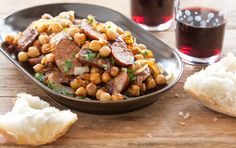 Spanish Chickpeas and Chorizo - quick weekday night dinner for this Monday! Serving with a salad on the side.