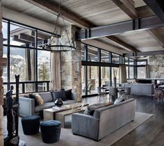 Incredible mountain modern dwelling offers slope-side living in Montana modern-living-room Mountain Home Interiors, Modern Mountain Home, Mountain Homes, Modern Lodge, Elegant Living Room, Modern Living Rooms, Modern Farmhouse Kitchens, Kitchen Modern, Farmhouse Design