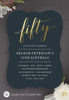 Modern St Birthday Invitation For Men With Gold By SparkDezign - 21st birthday invitations pinterest