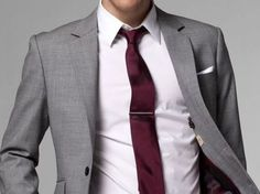 Grey suit and burgundy tie by nadine (scheduled via http://www.tailwindapp.com?utm_source=pinterest&utm_medium=twpin&utm_content=post53579620&utm_campaign=scheduler_attribution)