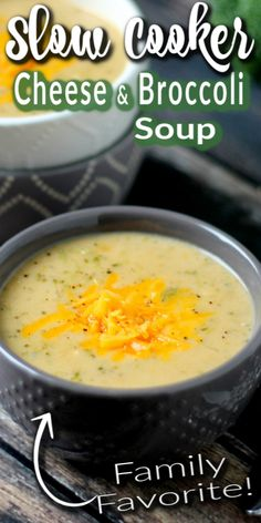 This SLOW COOKER CHEESE AND BROCCOLI SOUP recipe is full of broccoli and 3 kinds of cheese. It's creamy, rich, and filling - exactly what a soup should be. #slowcooker #soup #cheese #broccoli #broccolisoup Broccoli Soup Recipes, Broccoli Cheese Soup, Vegetarian Recipes, Asian Pork Belly Recipes, Quick Recipes, Crockpot Recipes, One Pot Meals, Easy Meals, One Pan Dinner
