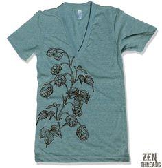 Unisex HOPS Deep V Neck T Shirt american apparel XS by ZenThreads, $20.00