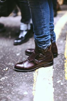 Triple Buckle Leather Boots with blue jeans tucked streetstyle