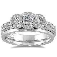@Overstock - Round-cut white diamond bridal ring set10-karat white gold jewelryClick here for ring sizing guidehttp://www.overstock.com/Jewelry-Watches/10k-White-Gold-1-2ct-TDW-White-Diamond-Halo-Bridal-Ring-Set-I-J-I1-I2/5902984/product.html?CID=214117 $482.99
