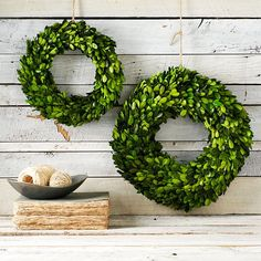 Boxwood Round Wreath hung with simple twine | West Elm