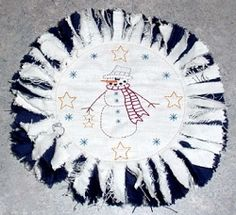 Snowman Star Candle Mat - 6x6 | Winter | Machine Embroidery Designs | SWAKembroidery.com HeartStrings Embroidery