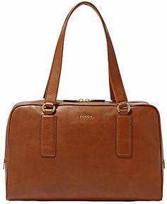 Fossil Handbag, Memoir Leather Biography Satchel - Handbags & Accessories - Macy's