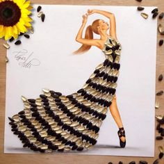 Sunflower seed dress by Edgar Artis Dress Design Sketches, Fashion Design Drawings, Fashion Sketches, Seed Dresses, Fashion Illustration Dresses, Illustration Mode, Illustrations, Ideias Diy, 3d Fashion