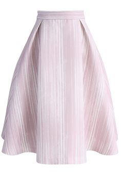 Ready for Stripes Printed Midi Skirt in Pink- New Arrivals - Retro, Indie and Unique Fashion