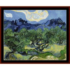 The Alpilles with Olive Trees - Van Gogh Cross Stitch Pattern by Cross Stitch Collectibles