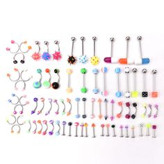 72pcs+Stainless+Acrylic+Ball+Barbell+Bar+Eyebrow+Nose+Tounge+Ring+Body+Piercing+#UnbrandedGeneric