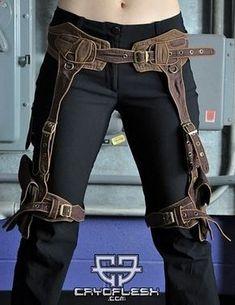 Raider steampunk leg harness.... badass