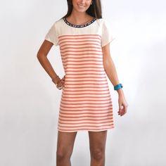 Embellished Striped Silk Dress