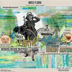 Miss Flora is a scrapbook mini kit with a green theme, save the planet by scrapping digital. This art doll looks great on your art journal page.
